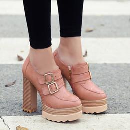 Black Ankle Booties For Women NZ - Legen New Elegant Women Ankle Boots Platform SquareToe Square Booties Female Shoes Woman Black Pink Grey Dark Grey Nice Shoes for Woman