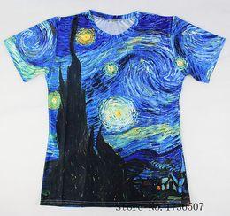 $enCountryForm.capitalKeyWord NZ - New Fashion Brand T Shirt 3D Print Classic Oil Vincent Van Gogh Starry Night Vintage T Shirt Summer Casual Tees Tops Comfortable Clothing