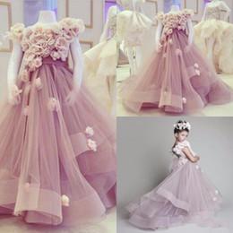 red rose dresses for kids 2019 - Princess Handmade Flower Rose Girls Pageant Birthday Dress 2018 Girl Communion Dress Kids Formal Wear Flower Girls Dress