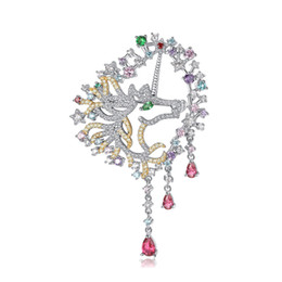 $enCountryForm.capitalKeyWord UK - New Fashion Trendy Men Women Pins Brooches White Gold Plated CZ Unicorn Brooch Pins for Men Women for Party Wedding