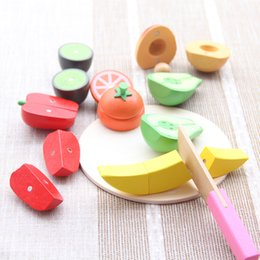 wooden kitchen play set Canada - Kids Children Wooden Fruit Cutting with Storage Bag Kitchen Pretend Food Play Set Educational Toy