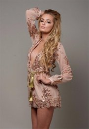 Sexy Deep V-neck Hollow Out Lace Sequin One Piece Party Playsuit Women Long Sleeve  Short Pant Jumpsuit Romper KD-016 e16b01830
