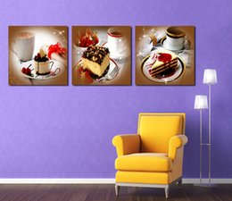 art canvas prints Australia - Unframed 3 Pieces Cake Canvas Painting Print Coffee Pictures HD Posters Wall Art Canvas Home Decoration For Living Room