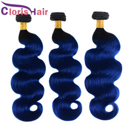 Hair Halo Wholesale NZ - Ombre Hair Extensions Peruvian Virgin Body Wave 3pcs Halo Dark Roots Colored Two Tone 1B Blue Human Hair Weave Wet And Wavy Bundles