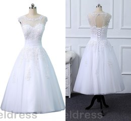 custom short gown NZ - Beach Short Lace Wedding Dresses 2018 Cheap Sheer Neck Appliques Lace Up Backless Bridal Gowns Plus Size Custom Made White Vestidos De Noiva