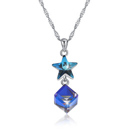 925 Silver Austria Crystal Necklace Australia - New arrival Popular 925 Sterling Silver Austria Crystal Star Pendant Necklaces fine Jewelry making for women gifts free delivery SVN611