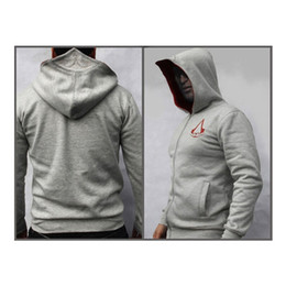 AssAssin clothes online shopping - Fashion Men Polyester Assassins Creed Hooded Sweatshirt Hombre Autumn Winter Solid Hoodie Sweatshirts Men Cosplay Chadal Cool Clothing xl