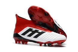 gold messi boots Canada - Fast Shipping White Red Original Football Boots Messi Soccer Cleats Laceless Predator 18+ FG Soccer Shoes Mens Slip-on Soccer Boots