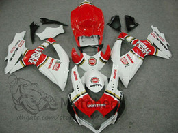 Discount gsxr fairing red white - 100%Fit Injection fairings FOR SUZUKI GSXR600 2008 2009 2010 GSXR750 08 09 10 white red fairings GSXR 600 750 K8 Fairing
