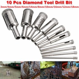 Glass Drill Core Bit Sets Australia - XNEMON 10Pcs 3-18MM Diamond Coated Core Hole Saw Drill Bit Set Tools 50mm Long For Tiles Marble Glass 3 4 5 6 8 10 12 14 16 18mm