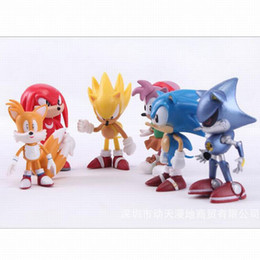 Sonic Hedgehog Dolls UK - Wholesale 6Pcs set Cute Anime Sonic The Hedgehog Action Figure Set Doll Toys Promotion Xmas Gift Collection Party Cake Topper Decoration