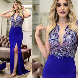 Wholesale Luxury Beaded Royal Blue Evening Dresses Sexy Side Slit Sweep Train Sheath Mermaid Lycra Prom Party Gown Formal Occasion Wear BC0281