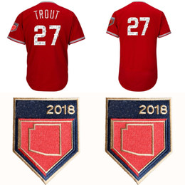 a197a1ca0 Men s  27 Mike Trout 2018 Spring Training Baseball Jersey Red Cool Base  Felx Base Team Jerseys All Stitched