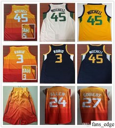 Stitched 2019 The City Orange 45 Donovan Mitchell Jerseys Basketball Yellow Blue  White 3 Ricky Rubio 27 Rudy Gobert 24 Grayson Allen Jersey 69585a9e3