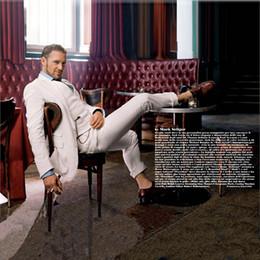Ivory Linen Suit Canada - Summer Ivory Linen Beach Wedding Suits Groom Tuxedo Casual Prom Wear Jacket Pants Vest 3 Pieces Slim Fit Men Blazers Suits