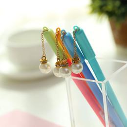 $enCountryForm.capitalKeyWord Australia - 30 Pcs Lot Pearl Gel Pen Gift Student Prize Candy Pendant Roller Ball Pen Blue Color Pens Canetas Stationery Office School Supplies