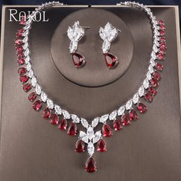 best bridal sets 2019 - RAKOL Clear Best Quality Brilliants Crydtal Zirconia Earrings And Necklace Sets Bridal Jewelry Set Wedding Dress Accesso