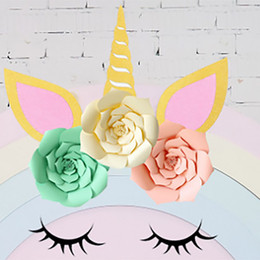 theme party supplies wholesale 2019 - DIY Unicorn Theme Party Sets Decoration Wedding Party Artificial Flowers Banner And Glitter Ear Eyebrow Angle Kits Decor