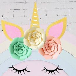 Fai da te unicorno festa a tema set decorazione festa nuziale fiori artificiali banner e glitter orecchio sopracciglio angolo kit decorazione wx9-606