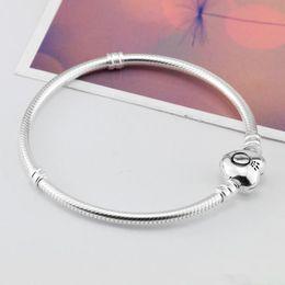 Marke 925 Silber Herz Verschluss Perlen 3mm Schlangenkette Armbänder passen europäischen Pandora Herz Charms Original Armband DIY Modeschmuck im Angebot