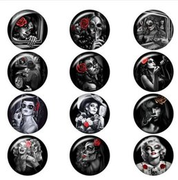 snap button making UK - Halloween girls death PUNK skull glass snap button DIY jewelry Round DA1117 jewelry making DIY Findings New Fit for bracelet necklace ect.
