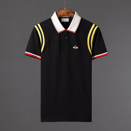 Wholesale t shirt girl for sale – custom 18 New fashion men brand polo t shirt embroidery Snake collar classic t shirt short sleeved t shirt G Striped lovers girls women men Top Tee