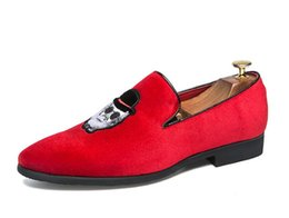 red white dresses UK - Fashion men loafers handmade dress moccasins Red Black white party wedding shoes pointed toe before men Flats big size 38-45 AXX957