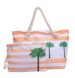 $enCountryForm.capitalKeyWord UK - Women Beach Canvas Bag Set Fashion Casual Shoulder Bags Printing Shopping Handbags Ladies Party Large tote handbag