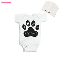 Wholesale Culbutomind Unisex I Love my Big Brother Dog Blue Funny Baby Body Suit Infant Newborn Outfit Jumpsuit with Custom Cap