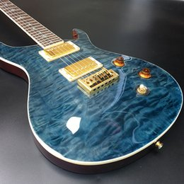 paint electric guitar 2018 - PS electric guitar,Mahogany body With Large flower finish Top,Clear Blue paint,free shipping! discount paint electric gu