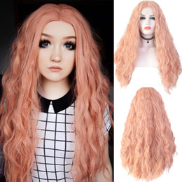 Discount synthetic natural middle part wigs - Free Shipping 180% Density Cosplay Party Orange Long Curly Wavy Wig Middle Part Glueless Heat Resistant Synthetic Lace F