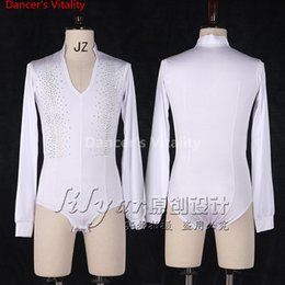 latin suits NZ - Latin Dance Men Tops Costume Performance Competition Suit Rhinestone Customized Long Sleeves T-shirt Rumba Salsa Tango Chacha Boy Dancewear