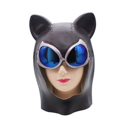 Wholesale Hot Sexy Women Black Cat Mask Catwoman Batman Costume Mask Latex Full Head Halloween Cosplay Costume Ball Party Props