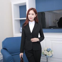 Large Lapel Suits Australia - High-end new professional women's suit OL white-collar hotel front temperament suit large size pants set two-piece female
