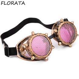 Discount victorian sunglasses FLORATA Vintage Victorian Golden Goggles Retro Steampunk Unisex Glasses Welding Cosplay Sunglasses Cool Eyewear