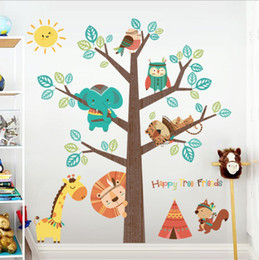 Home & Garden Forest Owl Animal Wall Stickers Butterfly Rabbit Squirrel Tree Swing Decor Kids Children For Rooms Baby Nursery Rooms Home Home Decor