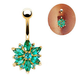 China 316L Stainless Steel Green Flower Gem Crystal Rhinestone Navel Bars Gold Belly Button Ring Navel Piercing Jewelry 1.6*10*5*8mm suppliers