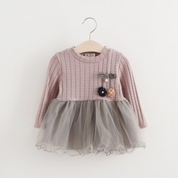 China Warm Girl Dress Spring Autumn 2017 Girls Knitted Mesh Children Clothing O Neck Long Sleeved Mini Dresses for Christmas Wedding suppliers