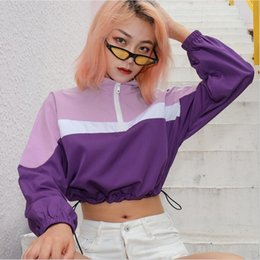 Zipper Collar Sweaters NZ - Europe and the United States autumn hot women's new color matching zipper stand collar waist casual sweater women's shirt
