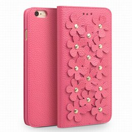 Venta al por mayor de Niza Cherry Blossom Mujer Funda de cuero para iPhone6S más 5.5 pulgadas, moda para mujer tapa del tirón para iPhone6 6S 4.7 pulgadas con tarjeta