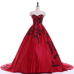 100%real red matte satin black flower embroidery Medieval dress Renaissance  gown Sissi princess dress Victorian Gothic Marie Belle Ball baf74ff65332