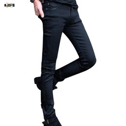 Pencil Fit Trousers For Men Canada - Funky Mens Fashion Pencil Pants Super Skinny Solid Black Elastic Washed Faded Slim Fit Long Jeans Trouser For Young Men