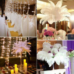 decorative plumes UK - 14-16inch Ostrich Feather Plumes for Wedding Centerpiece Table Party Desktop decoration beautiful feathers DIY Party Decorative CNY123