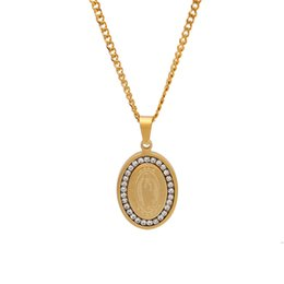 gold virgin mary pendant NZ - Virgin Mary Oval Dog Tag Pendant Necklace Gold Plated Stainless Steel Inlaid Cubic Zirconia Pendant 60cm Cuban Chain