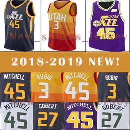 0df4e1728 Utah Jazz 45 Donovan Mitchell 3 Ricky Rubio 27 Rudy Gobert men s very  popular basketball jersey 2018-2019 NEW