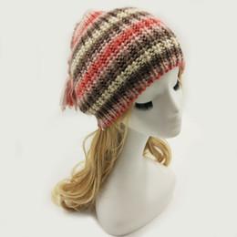 6967aea9fd28f lady hand knitted hat 2019 -  Lakysilk New Striped Pink Beanies Hats Women  Hand