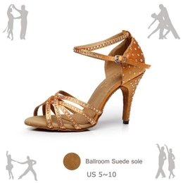 2018 Bronze Satin Latin Dance Shoes Women s Rhinestone Companionship Shoes  Salsa Party Ballroom Dancing Shoes 10cm 82475079beb9