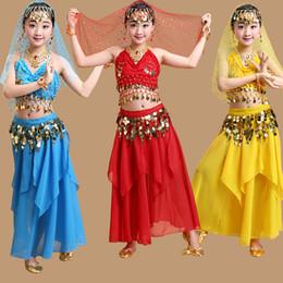 Discount indian costume kids - Performance Girls Belly Dancing Costume Set Kids Indian Dance Child Dancing Girl Bellydance Dancewear Girl Egypt Dance C