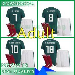 8157f95118c 2017 Mexico national team Adult Mexico Kits Soccer Jerseys Uniform Home  Green Men Set 2018 World Cup G.Dos Santos CHICHARITO football shirts