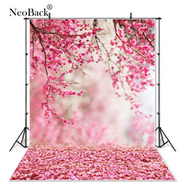 vinyl photographic backgrounds 2019 - NeoBack 6x9ft Vinyl Pink Peach Flower view new born baby photo background Printed floral garden view Photographic backdr